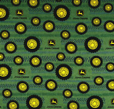 JOHN DEERE TIRES ON TREAD FLANNEL FABRIC