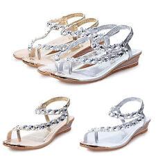 Women Summer Sandals Rhinestone Flat Platform Wedges Shoes Flip Flop Beach Shoes