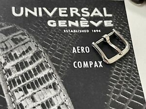 Vintage Universal Geneve chronograph watch tapered band steel buckle 13mm size