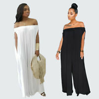 Plus Size Women's Off Shoulder Casual Summer Wide Legs Loose Jumpsuit Rompers