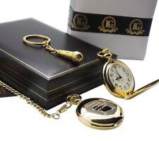 Signé TOM attend Montre De Poche Micro Porte-clés Luxe Cadeau Set 24k Gold Clad
