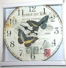 Wall Clock - Butterfly French Postcard Design (34cm)