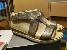 Ecco Size EUR 36 US 5 5.5 Grey Metallic Leather Sandals New Womens Shoes