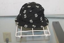 Stussy Capz Bucket Hat L/XL Rayon/Wool Black Dollar Sign $ Cap