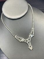 Stunning 1950's Silver Clear Rhinestone Vintage Necklace Wedding Flower Girl 14""