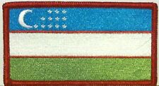 Uzbekistan  Flag  Iron-On Patch Shoulder Emblem Red  Border #03