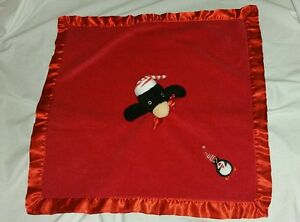 BLANKETS & BEYOND RED CHRISTMAS PENGUIN SECURITY BLANKET LOVEY holiday #20