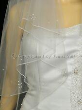 Handmade 2T White Bridal Fingertip Rhinestones Pearls Pencil Edge Wedding Veil