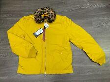 Alpha Industries x UO B-15 Straight Hem Mod Jacket Cheetah Collar Lemon Curry L