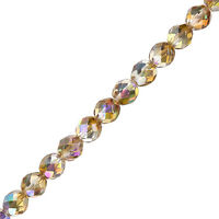 "8mm Fire Polish Beads Czech Crystal Brown Rainbow 6"" Strand Pack of 20 (G107/1)"