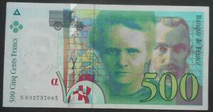 Billet 500 francs Pierre et Marie Curie 1995, TB, fayette 76.02 10 épinglages