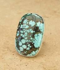 HUGE GENUINE TURQUOISE 925 INDIAN SILVER RING SIZE O 1/2-7 1/2 INDIAN JEWELLERY