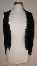 La Rok Black Cardigan Ruffle Sweater