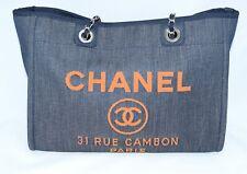 Chanel Deauville Bolso Bandolera Denim Azul Cadena Bolso R19