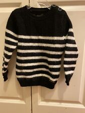 Finger In The Nose Boys Chunky Wool Black And White Stripe Sweater Size 4/5y