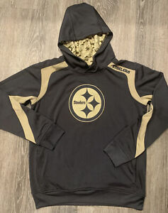 NFL Sz Youth L 14-16 Pittsburgh Steelers Grey & Gold Hoodie Sweatshirt Camo