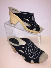EARTHIES by Earth Shoes Womens 8 Tropez Black Suede Leather Platform Heel Sandal