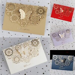 Butterfly Floral Lace Laser Cut Wedding Favors Brithday Party Invitations Cards