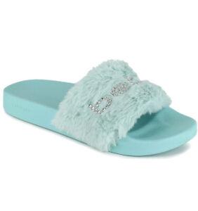 bebe Furiosa Fluffy Faux Fur Slide Sandals Blue Green Rhinestones Women's Shoe 7