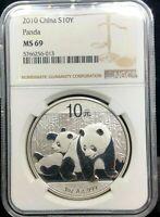 2010 CHINA PANDA 1 OZ SILVER COIN NGC MS 69 PANDA'S ASIA CHINESE PRC 10 YUAN Yn