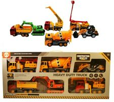 Large Construction Vehicles - 7 Inches- 6 Piece Set - Digger,Crane, Lorry & More