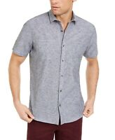 INC Mens Shirt Gray Size 2XL Button Up Pockets Short Sleeve Linen Blend $49 #003
