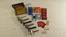 Vintage Gillette Razor Lot of 5 + 1 Gem Razor + A Large Lot of Extra Blades