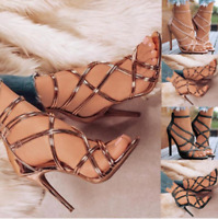 New Women Summer Leather Strap High Heel Sandals Causal Stilettos Party Shoes US