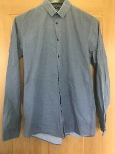 "Cedar Wood Size Tailored 15.5"" Blue Polka Dot Collar Checked Long Sleeve Shirt"