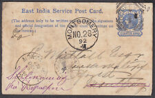 1892 North Western Railway East India Service Postcard; Montgomery; Faults