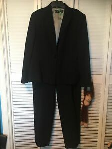 Solid Black 2-Piece Pant Suit Jacket Size 14P Polyester Kasper