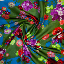 Kenzo authentic pure mulberry silk organza fabric.Floral 0.68x0.68 m. DEFECT!