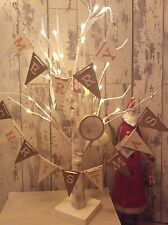 Merry Christmas Wooden Garland Decoration Gold White Vintage Shabby Chic Flags
