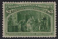 US Stamps - Scott # 243 - $3 Columbian - Mint OG Lightly Hinged - XF     (A-172)
