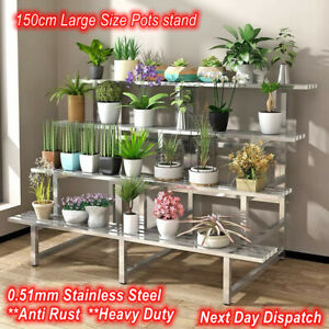 Heavy Duty Sturdy Stainless Steel Pots Stand 4-Tier Commercial Grade Outdoor Use