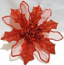 """5"""" WIRED LARGE RED POINSETTIA GLITTER FLOWER BAUBLE CLIP-ON CHRISTMAS DECORATION"""