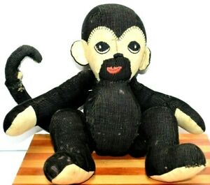 Antique Old Hand Sewn Toy Monkey Jointed Legs and Arms Corduroy Material Vintage