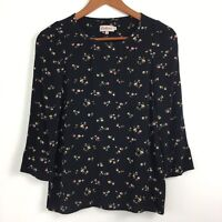 Cath Kidston Black Pink Ditzy Floral Longsleeve Thin Top Autumn 8 UK