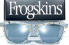 NEW Oakley Frogskins Clear Splatter POLARIZED Galaxy Chrome Mirror Sunglass 9013