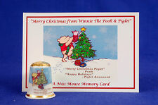 Merry Christmas From Winnie The Pooh & Piglet Gold Top Thimble + Card B/185