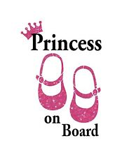 Princess on Board  #2 / Text is WHITE / Pink  Glitter Shoes and crown