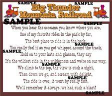 Disney World Disneyland Thunder Mountain Poem Scrapbook Paper Die Cut Piece