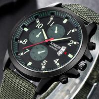 Men's Military Army Green Analog Digital Quartz Nylon Canvas Wrist Sports Watch