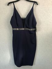 Ladies Navy Blue Diamante Formal Dress Wedding Christening US 12 UK 14 - 16 BNWT