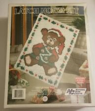 New listing 1988 National Yarn Crafts Latch Hook Kit Rug Xr67 Holiday Bear Made in Usa New