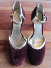 GORGEOUS BODEN GOLD & BURGANDY/WINE SUEDE SHOES SIZE 36 70mm HEELS NEARLY NEW