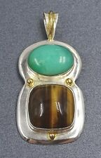 Striking Chrysoprase and Tiger Eye Sterling Silver 925 Pendant