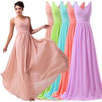 GK Chiffon Long Ball Formal Bridesmaid Prom Wedding Evening Gown Dress Size 6-20