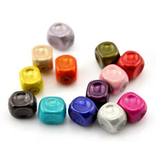 40 Square Beads Assorted Colorful Acrylic with Glossy Finish 8mm - Bd200