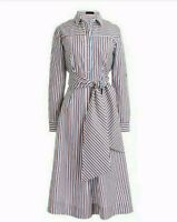J Crew Tie-waist Shirt Dress in Stripe White Red Blue Size 12 NEW H7791